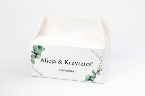 Ozdobne pudełko na ciasto - jednokartkowe – Eukaliptus