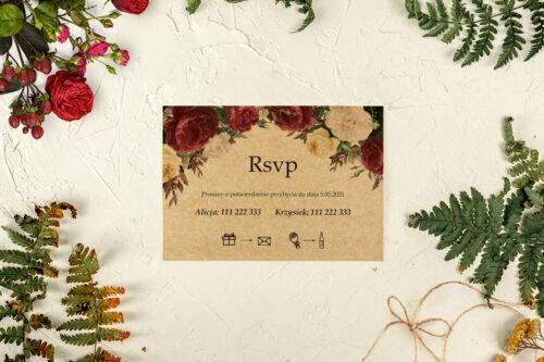 rsvp do zaproszeń jesiennych eco bordrowe róże