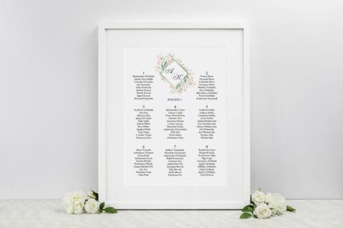 Plan stołów weselnych do zaproszeń Geometryczne Kwiaty - Gałązki ze Złotem