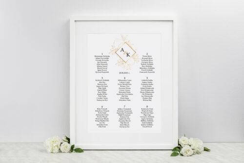 Plan stołów weselnych do zaproszeń Geometryczne Kwiaty - Złote Róże