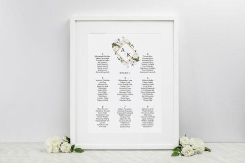 Plan stołów weselnych do zaproszeń Geometryczne Kwiaty - Białe Róże
