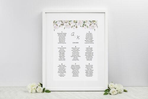 Plan stołów weselnych do zaproszenia Kwiaty Vintage – Białe Róże
