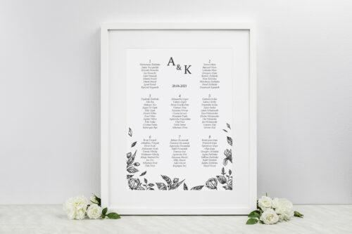 Plan stołów weselnych - Rysunkowe kwiaty DL - Róże