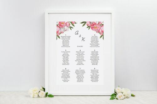 Plan stołów weselnych do zaproszeń Kwiatowe Tła - Koralowe Kwiaty