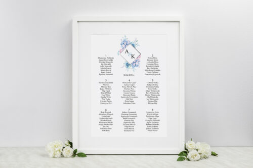 Plan stołów weselnych do zaproszeń Geometryczne Kwiaty - wzór 3