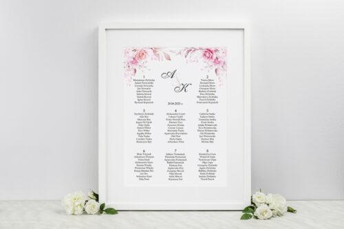 Plan stołów weselnych - do zaproszenia Akwarelowe Bukiety – Róże na jasnym tle