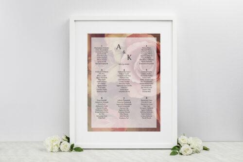 Plan stołów weselnych do zaproszenia Fotograficzne Kwiaty - Herbaciane Róże