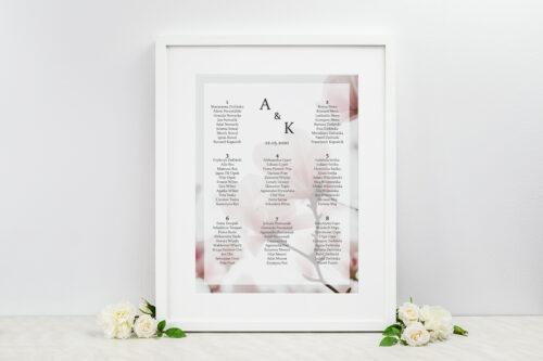 Plan stołów weselnych - do zaproszenia Fotograficzne Kwiaty - Subtelna Magnolia