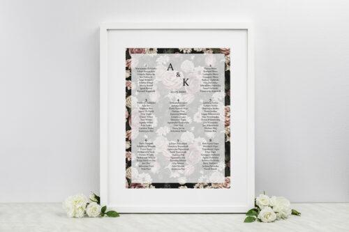 Plan stołów weselnych do zaproszenia Fotograficzne Kwiaty - Rysunkowe Kwiaty
