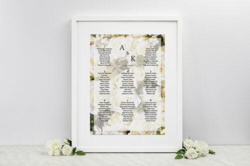 Plan stołów weselnych do zaproszenia Fotograficzne Kwiaty - Białe Róże