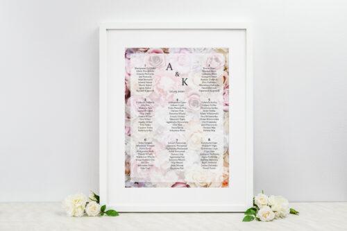 Plan stołów weselnych do zaproszenia Fotograficzne Kwiaty - Pudrowe Róże