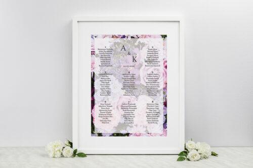 Plan stołów weselnych - do zaproszenia Fotograficzne Kwiaty - Różowo-fioletowy bukiet