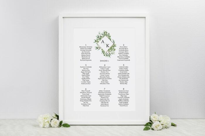 plan-stolow-weselnych-do-zaproszen-geometryczne-kwiaty-liscie-eukaliptusa-dodatki-ramka-papier-satynowany