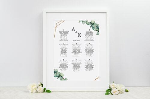 Plan stołów weselnych do zaproszenia jednokartkowe – Eukaliptus