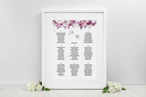 Plan stołów weselnych do zaproszenia Jednokartkowe z Kwiatami – Kwiecista kompozycja