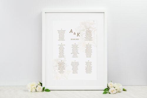 Plan stołów weselnych - Rysunkowe kwiaty - Lilie