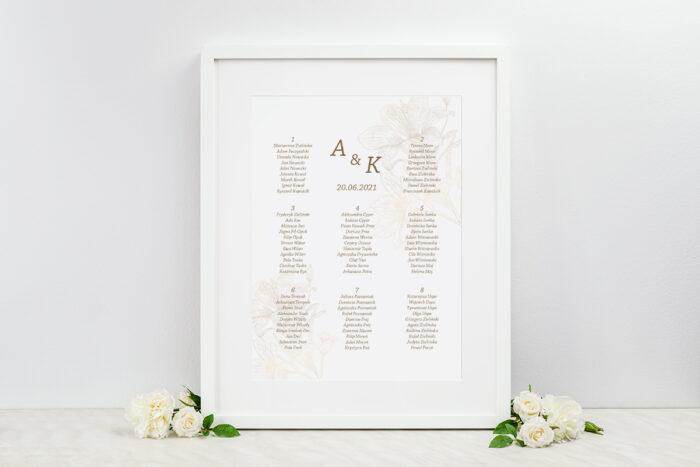 plan-stolow-weselnych-rysunkowe-kwiaty-lilie-dodatki-ramka-papier-ecruefakturowany