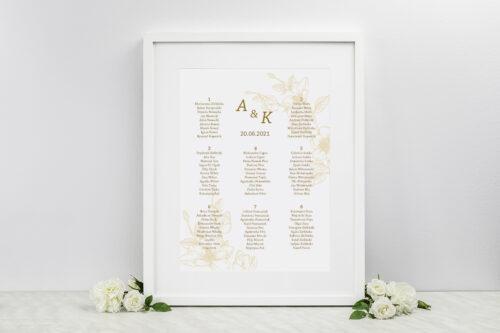 Plan stołów weselnych - Rysunkowe kwiaty - Hibiskus