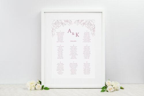 Plan stołów weselnych - Rysunkowe kwiaty DL - Konturowe Róże