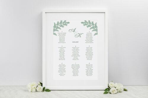 Plan stołów weselnych - Rysunkowe kwiaty DL - Paprotki
