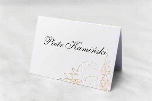 Winietka ślubna do zaproszenia z nawami - Geometryczne Kwiaty - Złote Róże