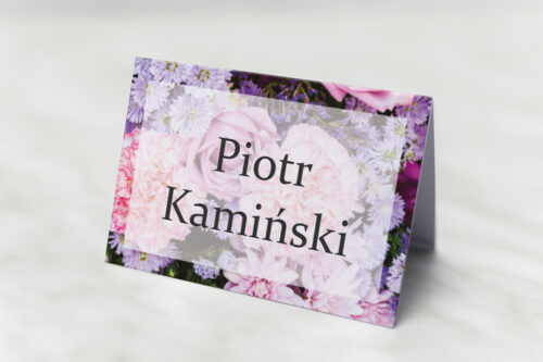 Winietka ślubna pasująca do zaproszeń Fotograficzne Kwiaty - Różowo-fioletowy bukiet