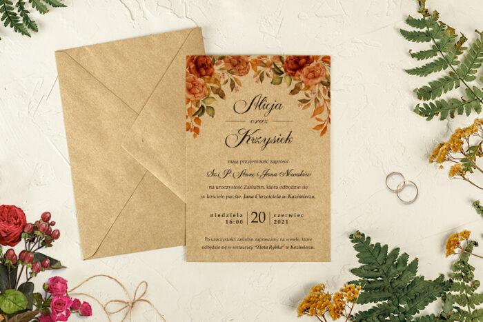 zaproszenie ślubne jesienne herbaciane róże
