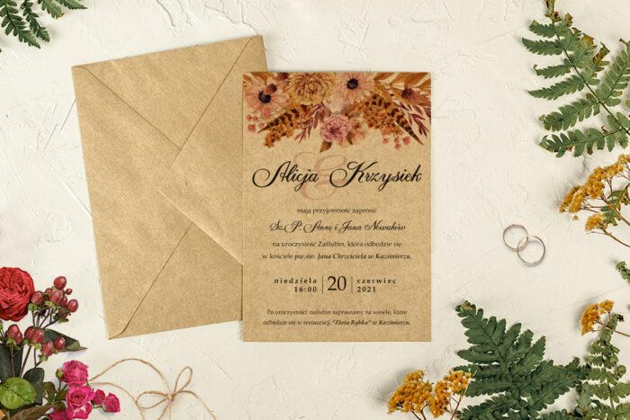 zaproszenie na ślub eco duszony bukiet i koperta eco