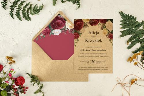 koperta z wklejką bordowe róże