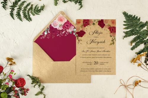zaproszenie ślubne z różami czerwonymi