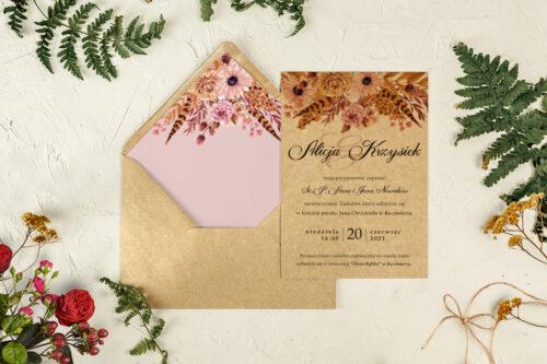 zaproszenie na ślub suszony bukiet
