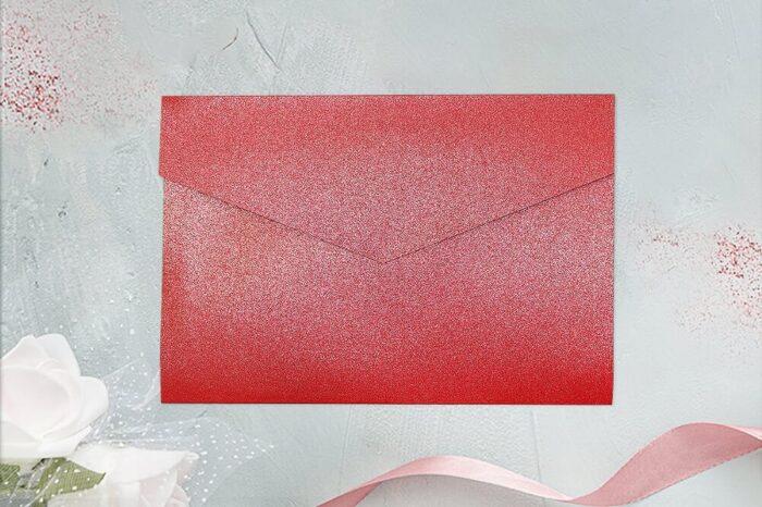 koperta brokatowa czerwona