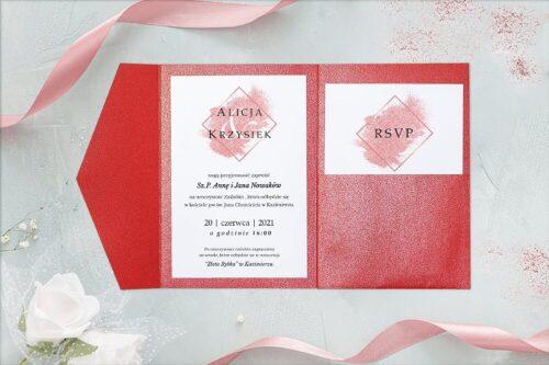 zaproszenie ślubne w formie rozkładanego folderu- brokatowe czerwone