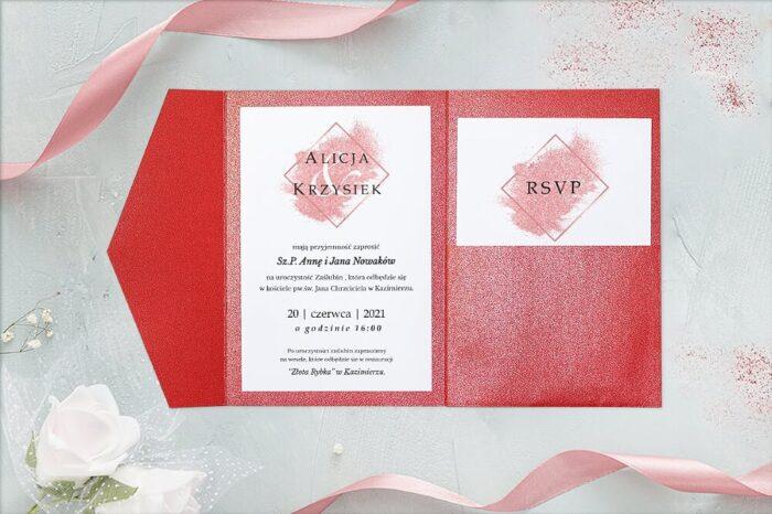 zaproszenie-slubne-brokatowe-w-folderze-czerwone-papier-perlowy-folder-z-kieszonkami-zloty-perlowy