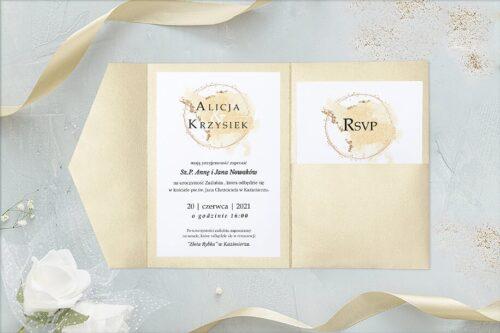 zaproszenie ślubne w formie rozkładanego folderu- brokatowe ecru