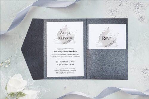 zaproszenie ślubne w formie rozkładanego folderu- brokatowy grafit