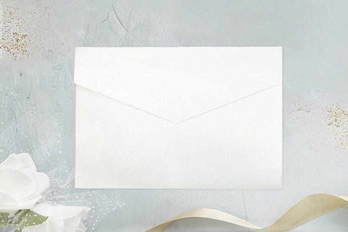rozkładany folder perłowy biały
