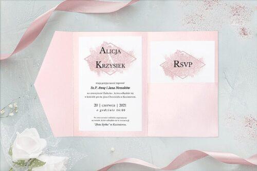 zaproszenie ślubne w formie rozkładanego folderu- brokatowy róż