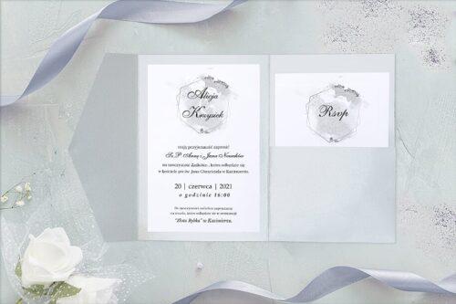 zaproszenie ślubne w formie folderu z kieszonkami - brokatowe srebro