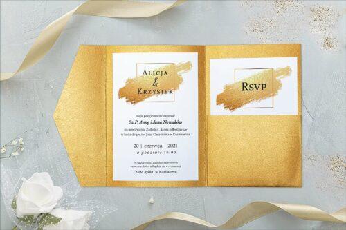 zaproszenie ślubne w folderze - brokatowe złoto