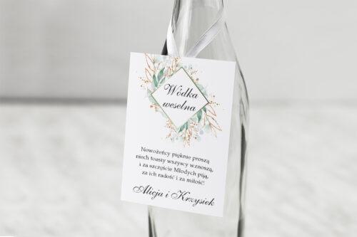 Zawieszka na alkohol do zaproszenia Geometryczne Kwiaty - Gałązki ze Złotem