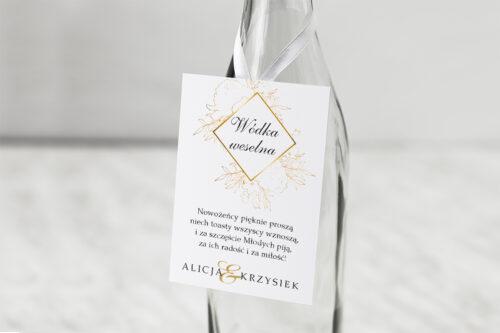 Zawieszka na alkohol do zaproszenia z nawami - Geometryczne Kwiaty - Złote Róże