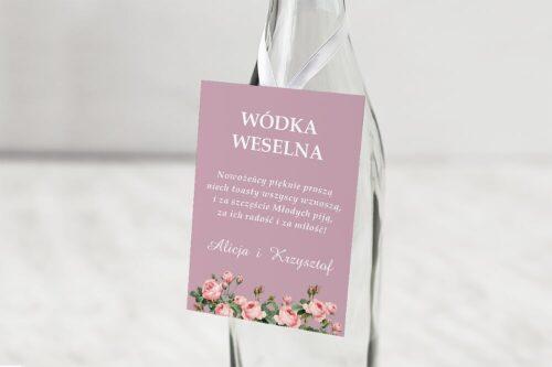 Zawieszka na alkohol do zaproszeń ślubnych B6 z nawami - Duże Inicjały - Różowe Piwonie
