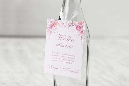 Zawieszka na alkohol Akwarelowe Bukiety – Róże na pudrowym tle