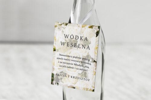 Zawieszka na alkohol do zaproszeń Fotograficzne Kwiaty - Białe Róże