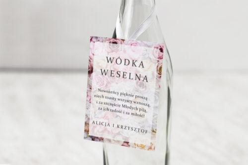 Zawieszka na alkohol do zaproszeń Fotograficzne Kwiaty - Pudrowe Róże