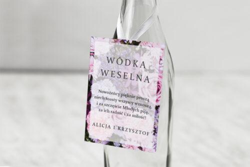 Zawieszka na alkohol do zaproszeń Fotograficzne Kwiaty - Różowo-fioletowy bukiet
