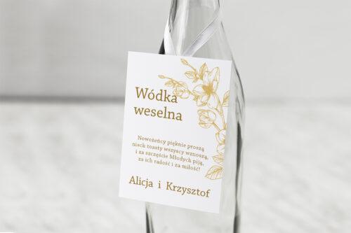 Zawieszka ślubna na alkohol - Rysunkowe kwiaty - Hibiskus