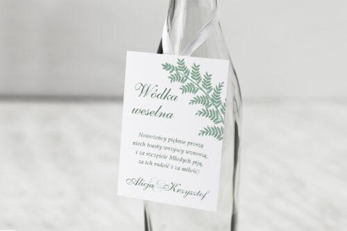 Zawieszka ślubna na alkohol - Rysunkowe kwiaty DL - Paprotki