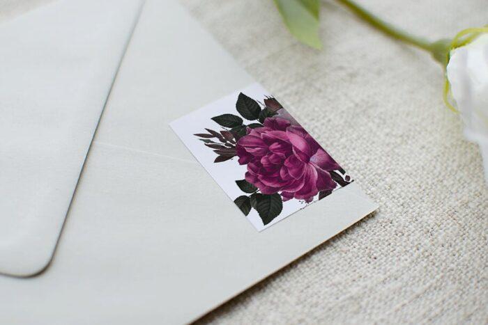 Koperta B6 szara z personalizacją - Bordowe Róże